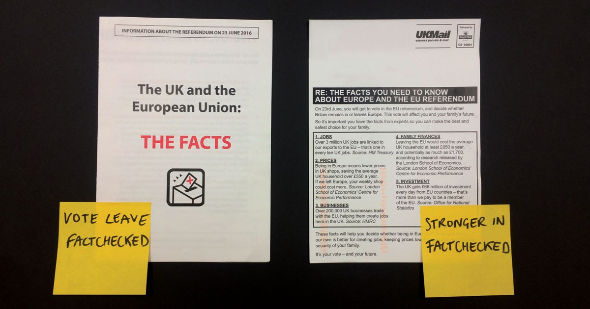 """Vote Leave and Stronger In """"facts"""" leaflets - Full Fact"""