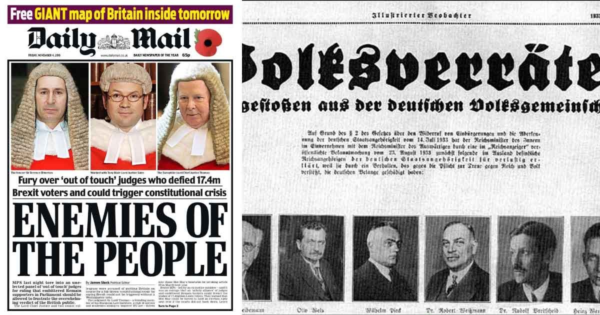 "Gally Mail: The Daily Mail, ""enemies Of The People"", And A Nazi"