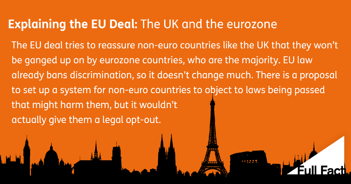 Explaining The Eu Deal The Uk And The Eurozone Full Fact