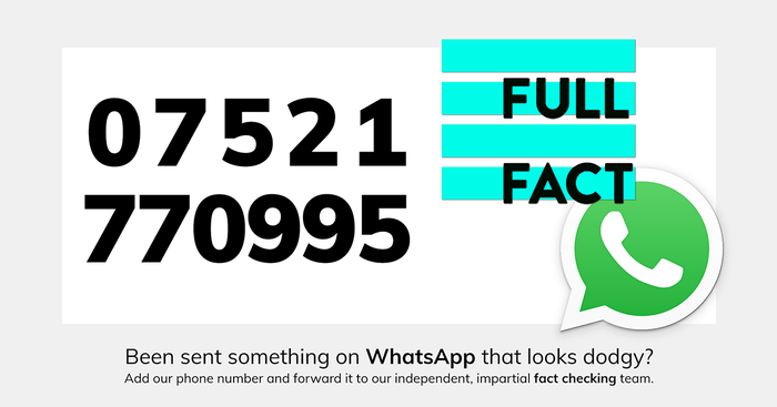 Full Fact launches a WhatsApp fact checking service in the UK