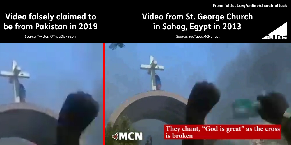 Comparison of screenshots from 2019 and 2013 church attack videos