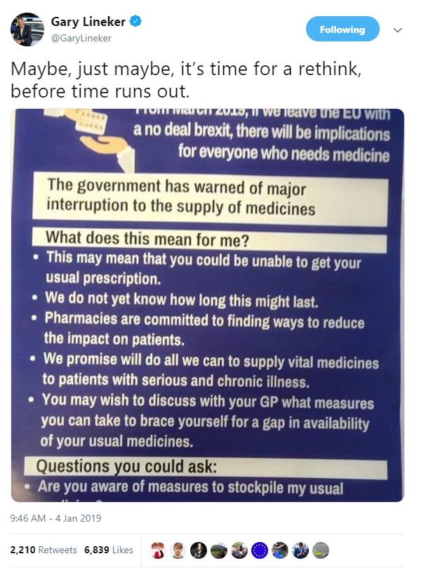 Tweet van Gary Lineker over het wegvallen van de medicijnvoorraad