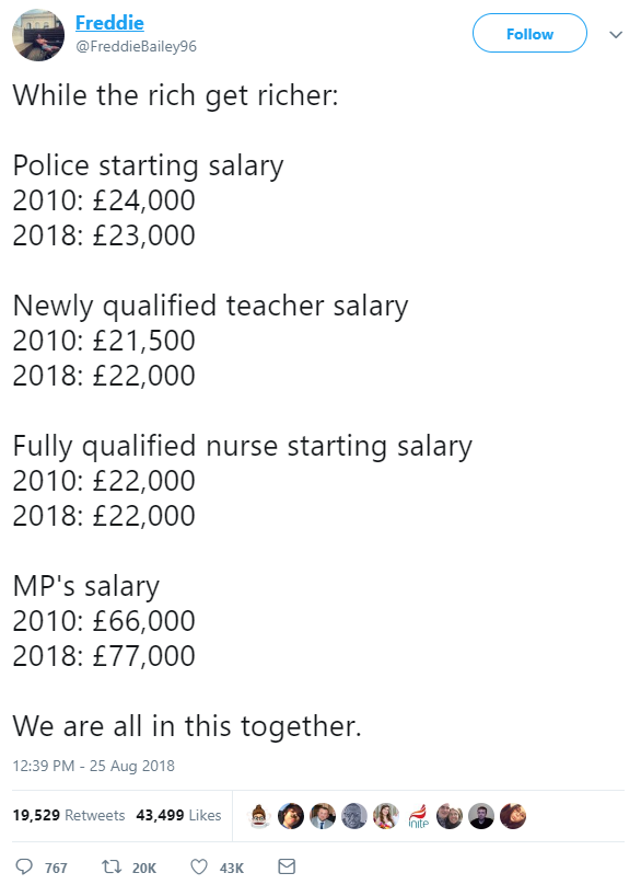 Pay rises: how much do nurses, the police, teachers and MPs