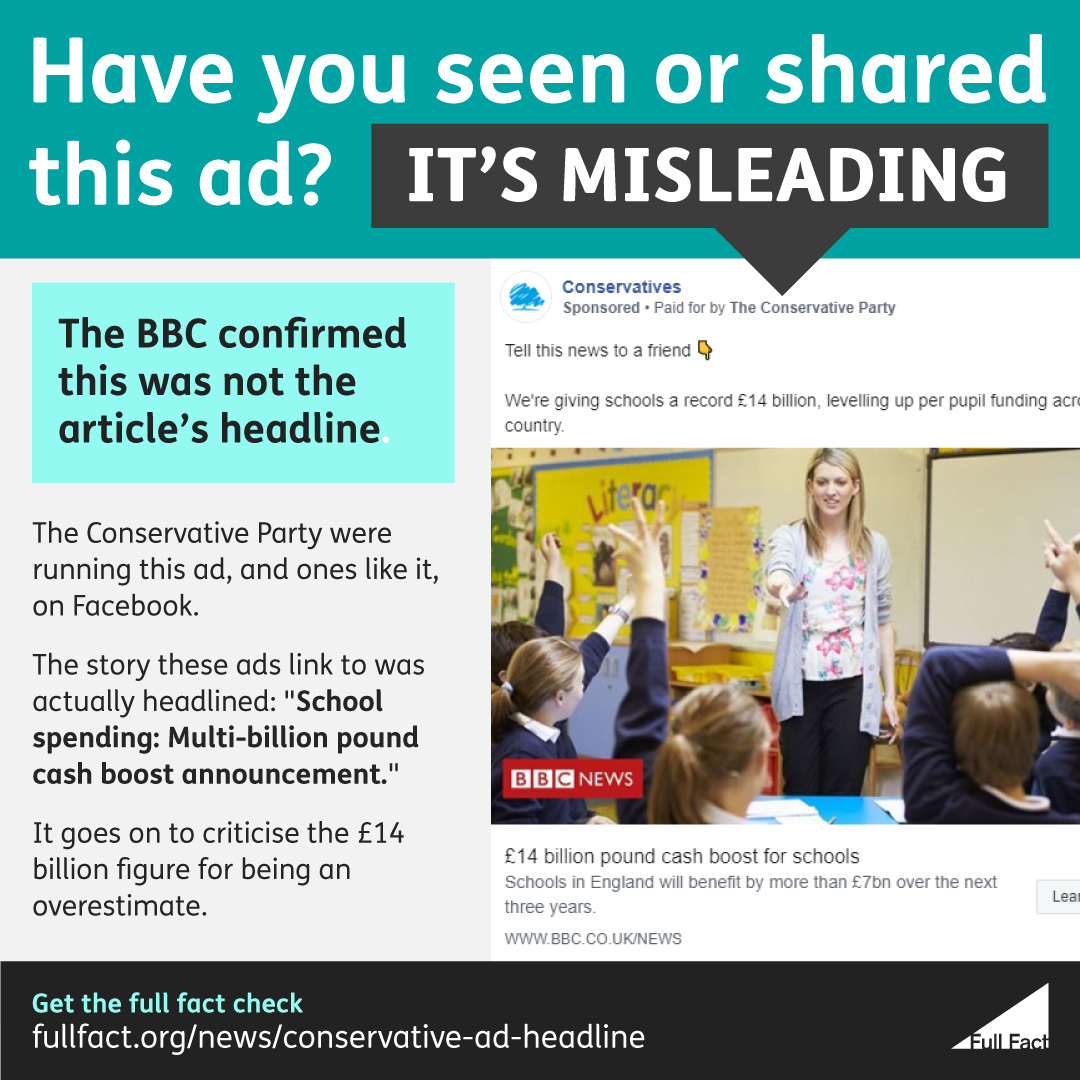 The Conservative Party altered a headline in their Facebook ads