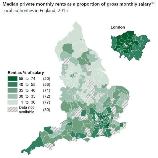 Map Of Uk Local Authorities.Are We Spending More Than Half Our Income On Rent Full Fact