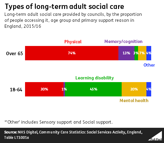 Physical support for older adults was the most common type of long-term care,  making up 74% of all care provided during the year.