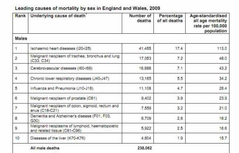 Death Statistics by Cause Causes of Death in The uk