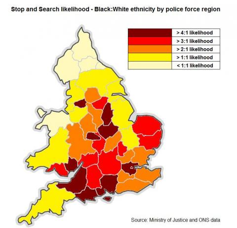 Map Of Uk 1000.How Likely Are Black People To Be Stopped And Searched By Police