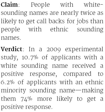 job applicants with ethnic minority sounding names are less likely